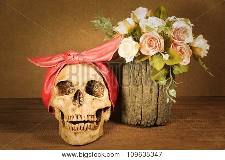 Still Life With Skull And Roses