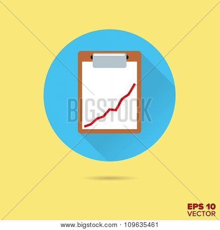 Clipboard with graph flat design vector icon