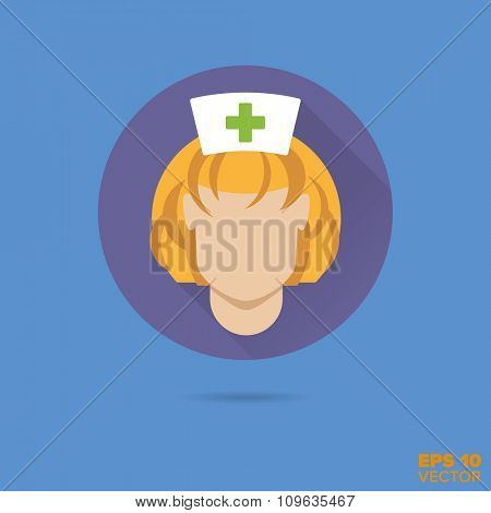 Nurse face flat design vector icon