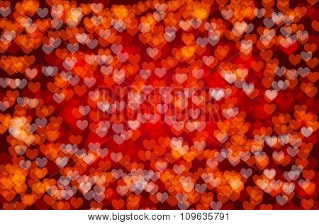 Red Background With Abstract Hearts
