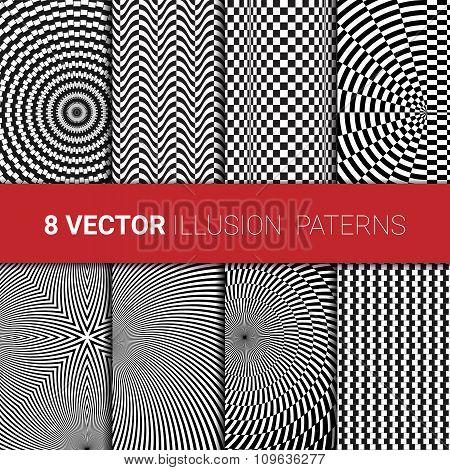 Optical illusion backgrounds set.