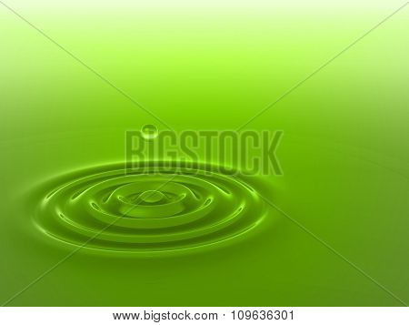 Concept or conceptual green liquid drop falling in water with ripples and waves background