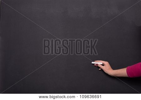 Woman's Hand With Chalk On Blackboard With Copy Space