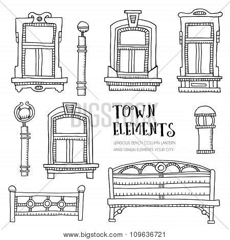 Town elements hand drawn.