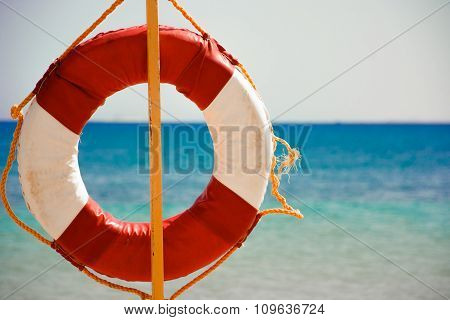 Lifebuoy On Sandy Beach