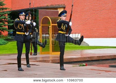 MOSCOW, RUSSIA - JUNE 7: Change of the guard at the Eternal Flame post in Moscow on June 7, 2010.