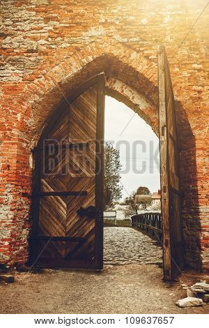 Old opened Wooden door with ornaments in ancient fortress