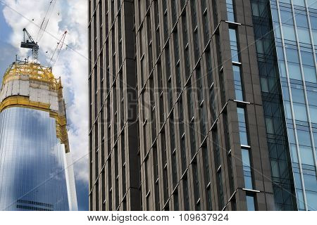 wonderful Abstract city buildings with cloud blue sky background