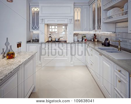 Luxury White Kitchen With A Classic Style.