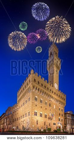 Beautiful fireworks under the Old Palace Florence