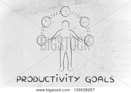 Busy Man Juggling With Clocks, With Text Productivity Goals