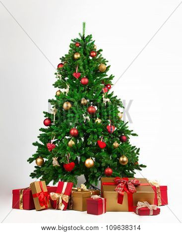 Christmas tree with ornaments and gifts