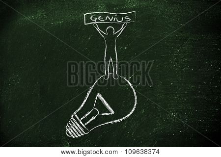 Person Standing On His Idea (lightbulb) Holding A Genius Banner