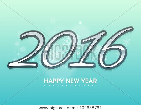 Elegant greeting card design with shiny text 2016 on snowflakes decorated background for Happy New Year celebration.