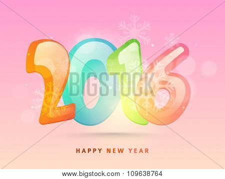 Glossy colorful text 2016 with snowflakes on pink background for Happy New Year celebration.