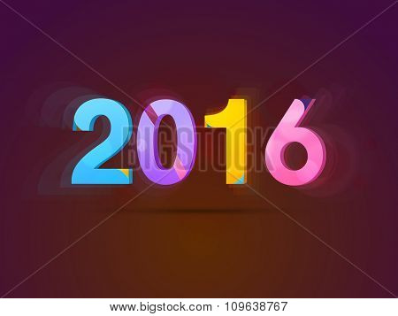 Shiny colorful text 2016 for Happy New Year celebration.