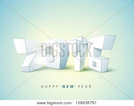 Creative 3D text 2016 on shiny sky blue background for Happy New Year celebration.