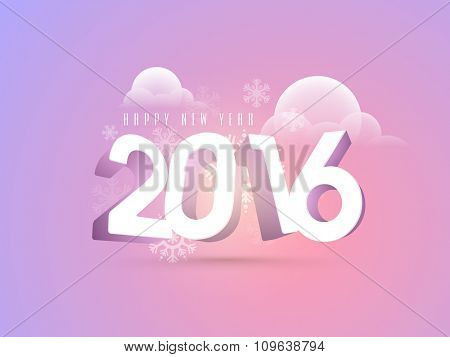 Elegant greeting card design with glossy 3D text 2016 on snowflakes decorated background for Happy New Year celebration.
