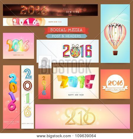 Creative Social Media post and header set with stylish text 2016 for Happy New Year celebration.