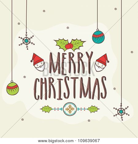 Colorful creative ornaments decorated greeting card design for Merry Christmas celebration.