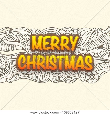 Floral design decorated greeting card with ornaments for Merry Christmas celebration.