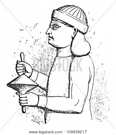 Handle cymbals, vintage engraved illustration. Private life of Ancient Antique family 1881.