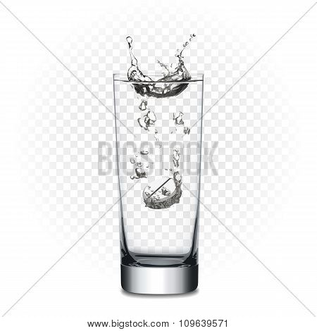 Vector tablet in glass with water