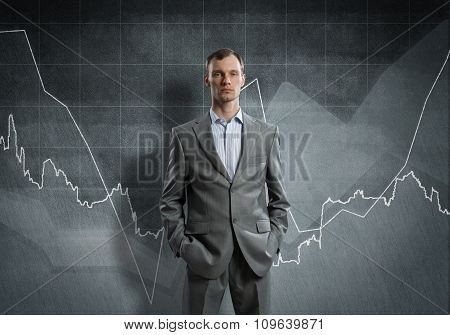Confident businessman sure in success