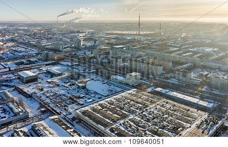 Residential district with TV towers. Tyumen