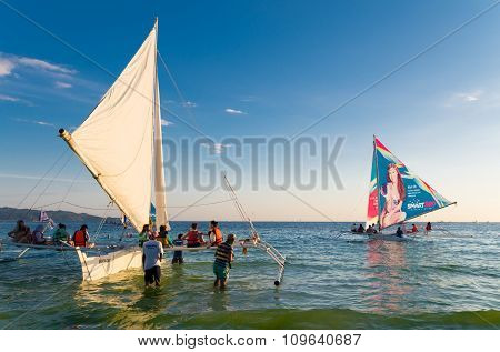 Sailing Boats With Tourists