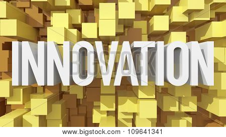 Extruded Innovation Text With Blue Abstract Backround Filled With Cubes