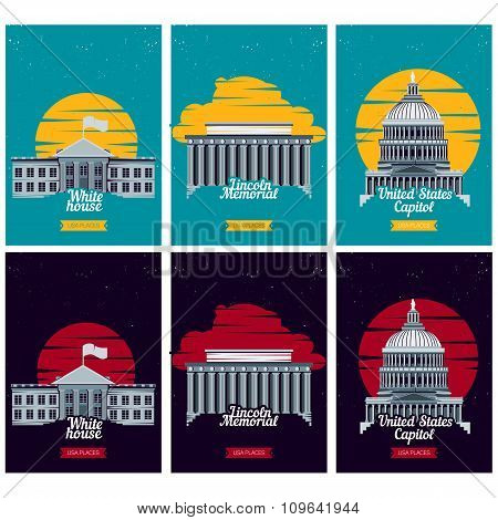USA tourist destination posters. Vector illustration with American famous buildings. Capitol, White