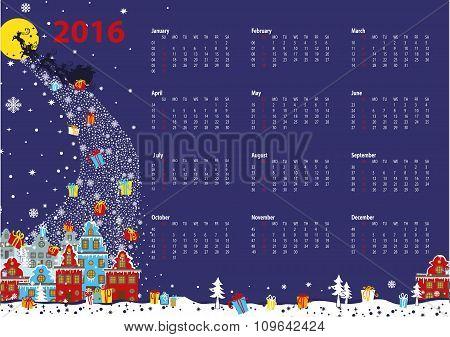 Calendar 2016.Santa coming to the city.Horizontal