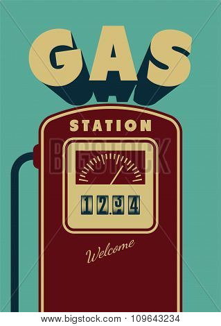 Vintage Gas Station poster design. Retro vector illustration.