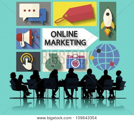 Online Marketing Branding Global Communication Analysing Concept