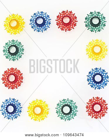 Colorful snowflakes toys in square shape