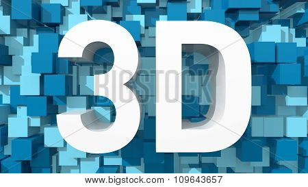 Extruded 3D Text With Blue Abstract Backround Filled With Cubes