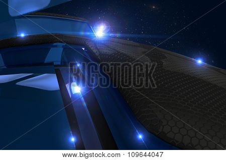 Abstract Black And Blue 3D Blocks  Background With Light Flare