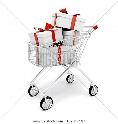 3d shopping cart and present boxes