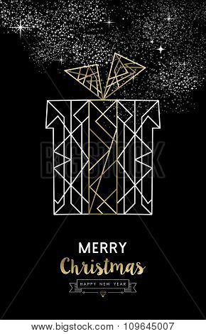 Merry Christmas New Year Gift Outline Gold Deco