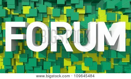 Extruded Forum Text With Blue Abstract Backround Filled With Cubes