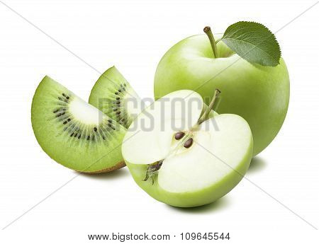 Green Apple And Kiwi Slices Isolated On White Background