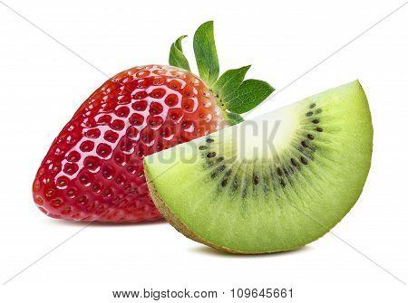 Strawberry And Kiwi Slice Isolated On White Background