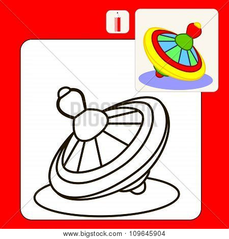 Coloring Book or Page Cartoon Illustration of yellow whirligig.