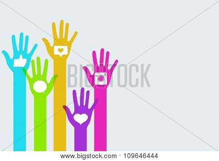 Vector colorful hands social network infographics
