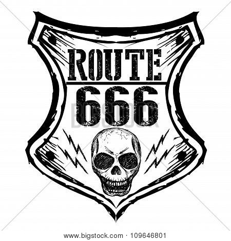 Black Route 666 Sign On A White Background.