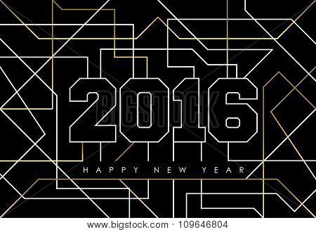 Happy New Year Abstract 2016 Gold Deco Outline