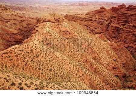 landscape of red sandstone in zhangye