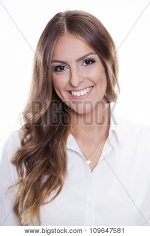 Close up portrait of beautiful young adult attractive sexy and sensuality happy smiling pretty brunette woman elegance business style dress, Isolated on white background