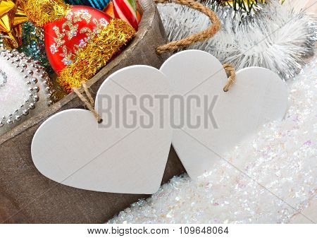 Christmas Decoration, Pine Twig, Card For Text, Christmas Baubles On White Background